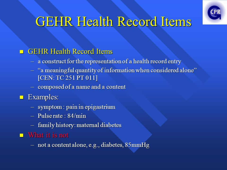 GEHR Health Record Items