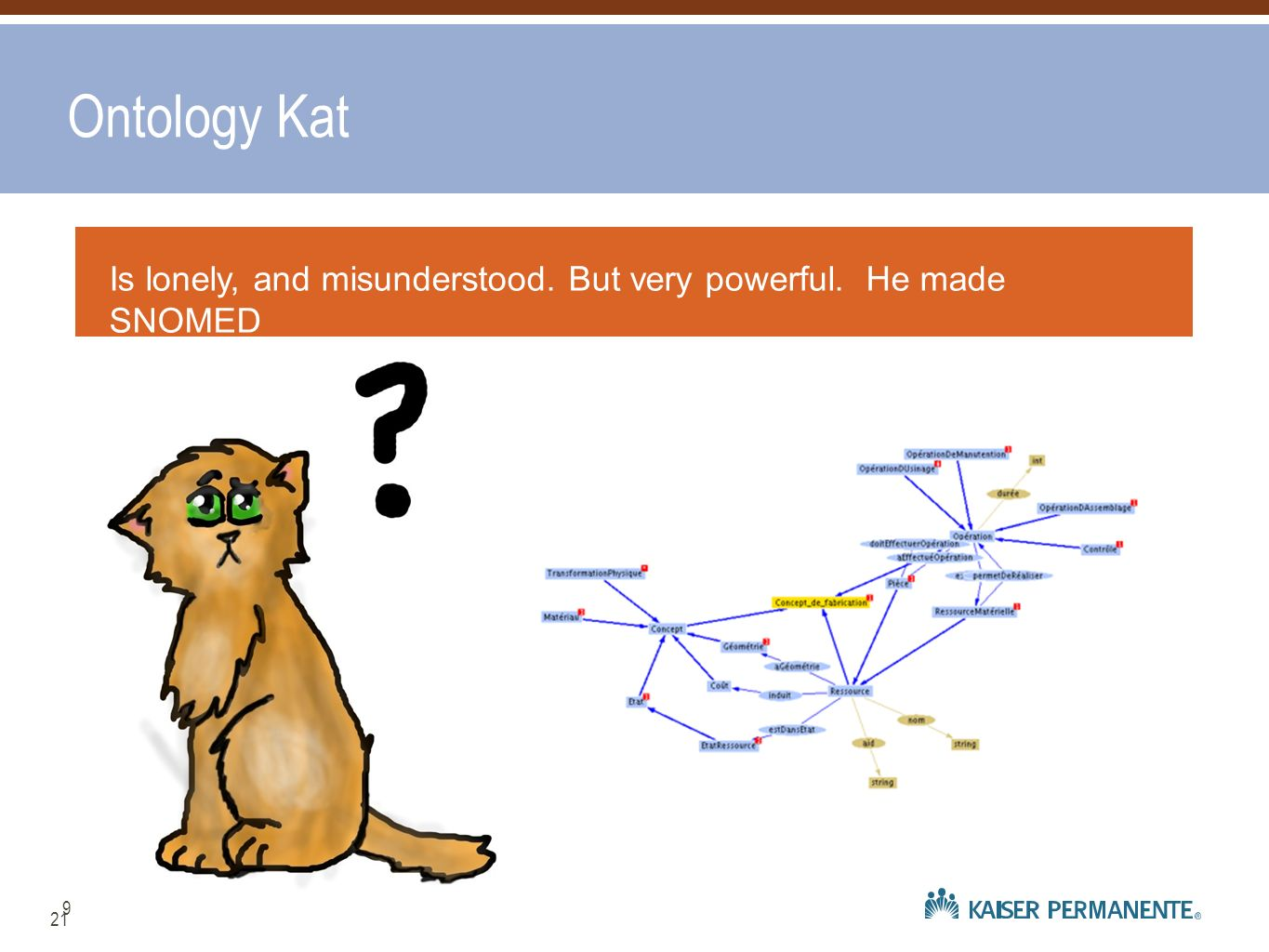 Ontology Kat Is lonely, and misunderstood. But very powerful. He made SNOMED 9