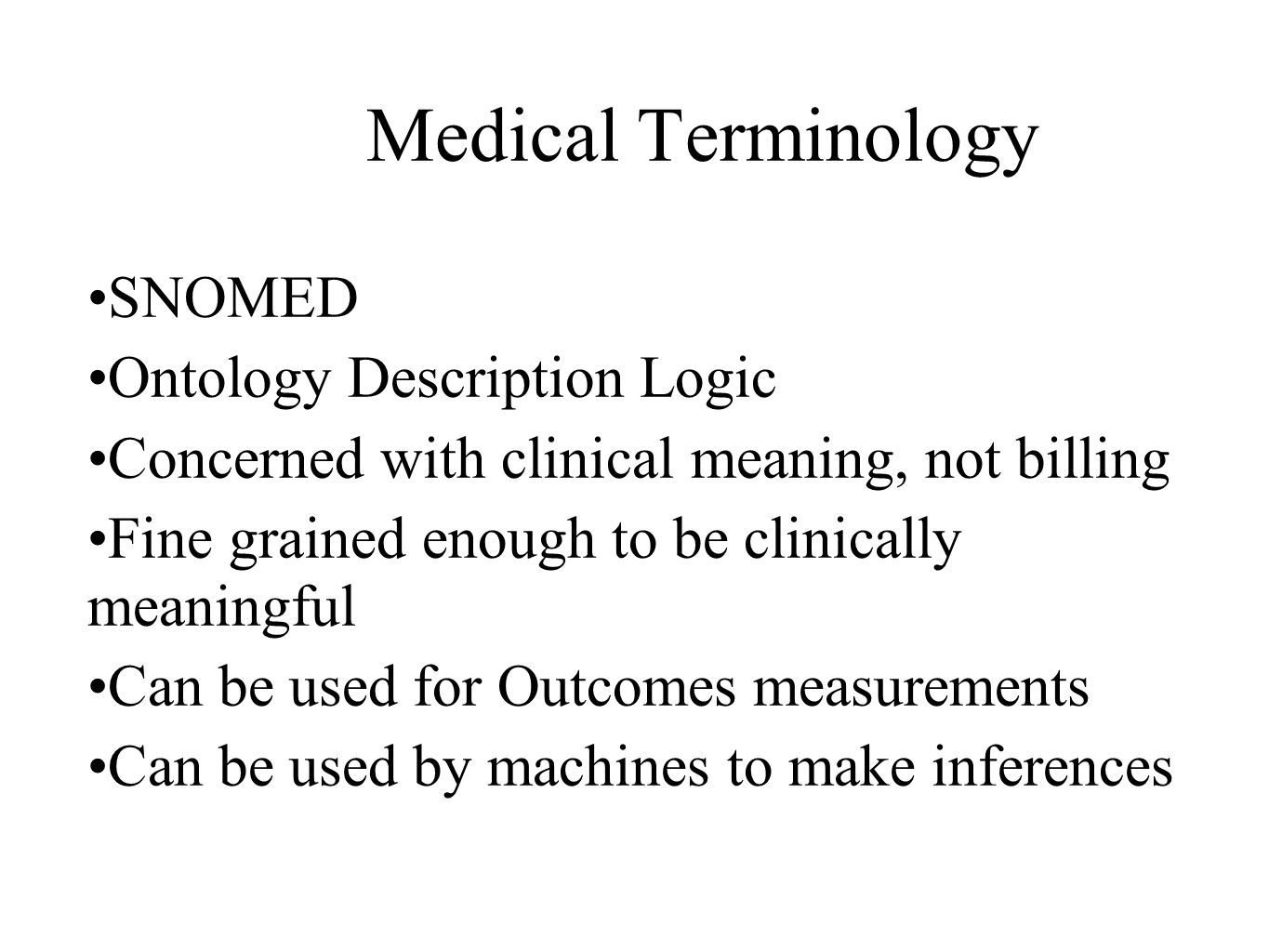 Medical Terminology SNOMED Ontology Description Logic