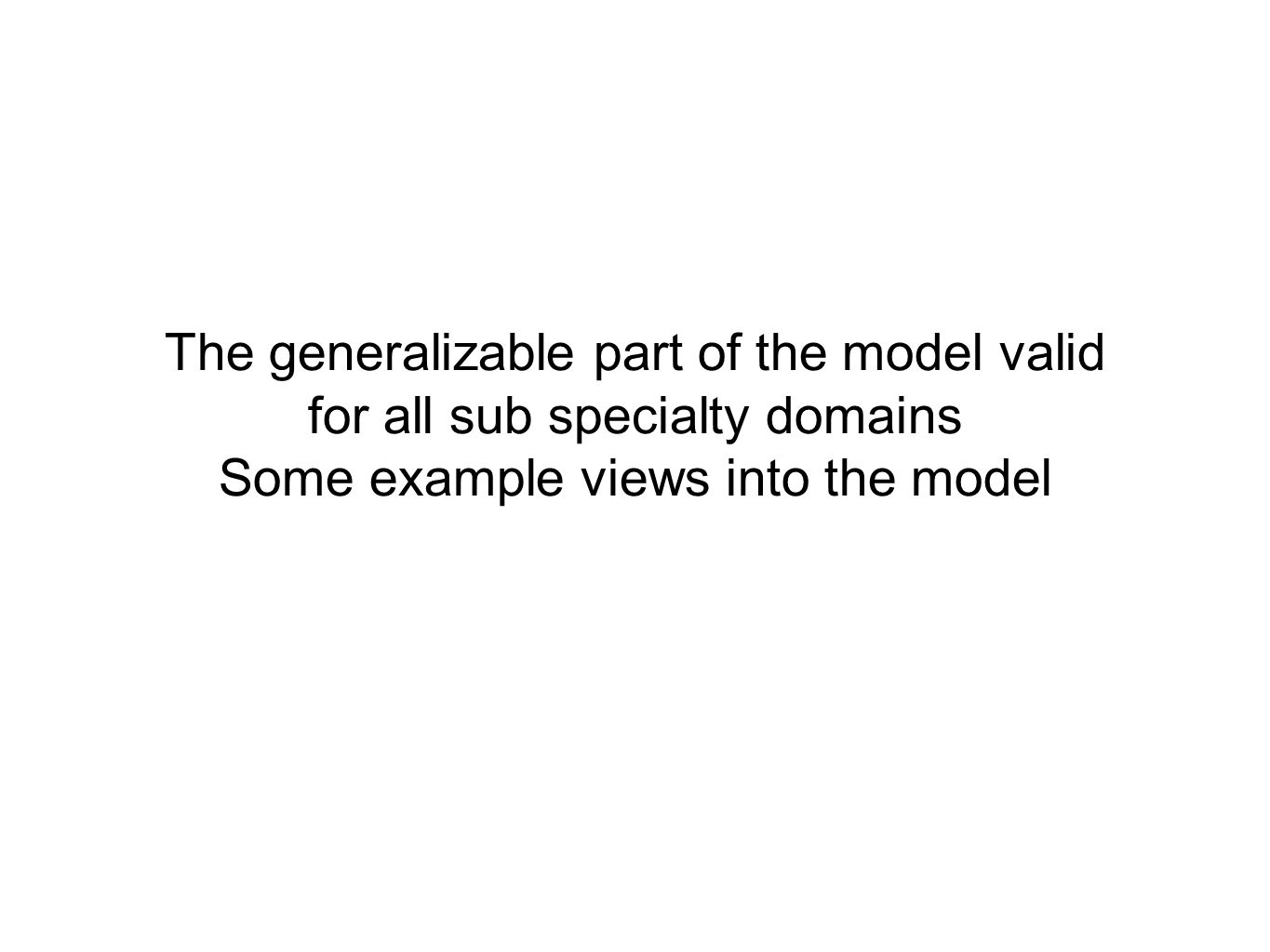 The generalizable part of the model valid for all sub specialty domains Some example views into the model