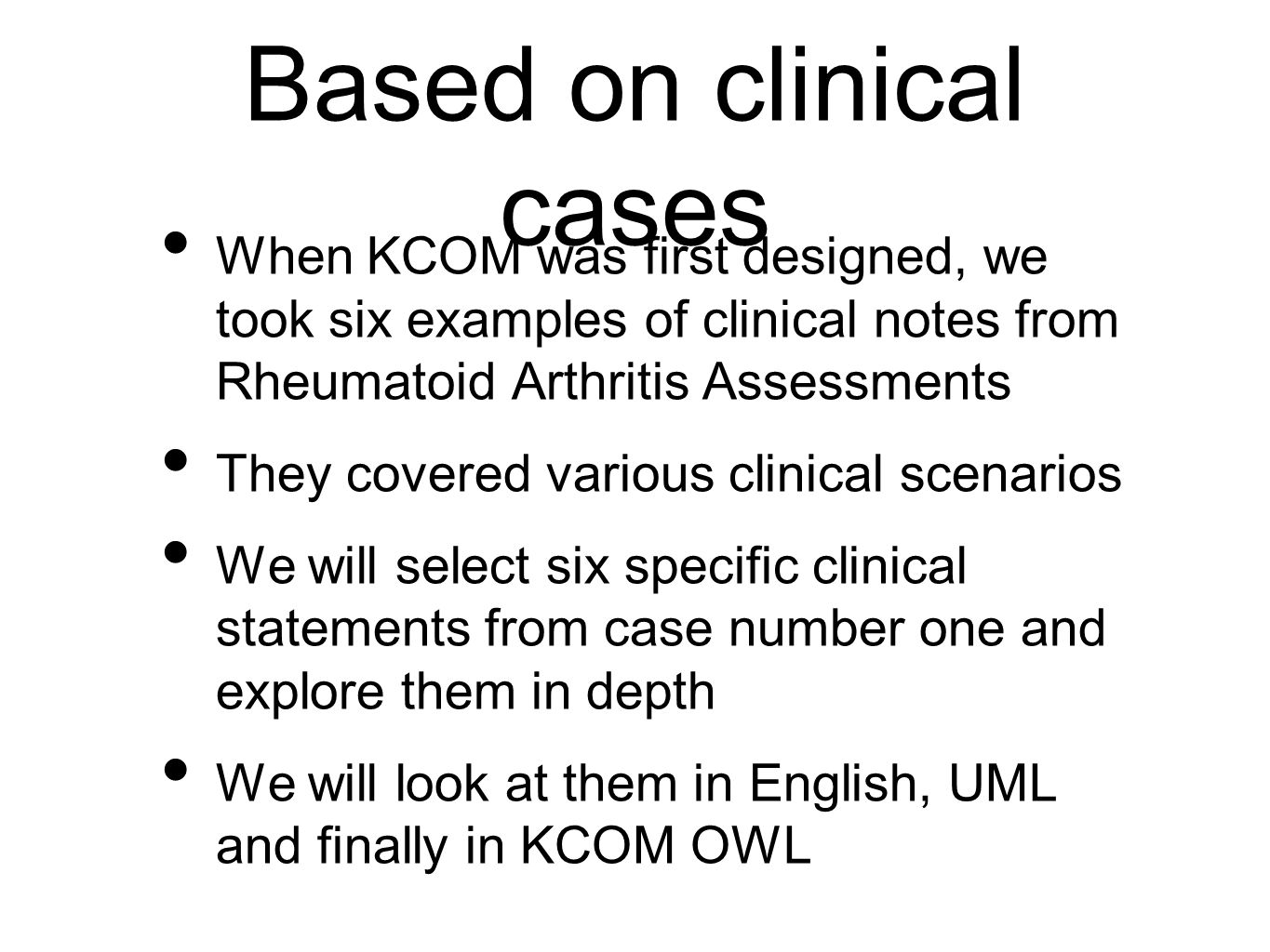 Based on clinical cases