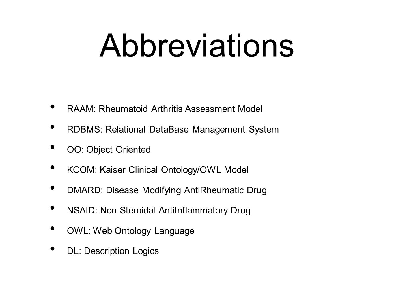 Abbreviations RAAM: Rheumatoid Arthritis Assessment Model