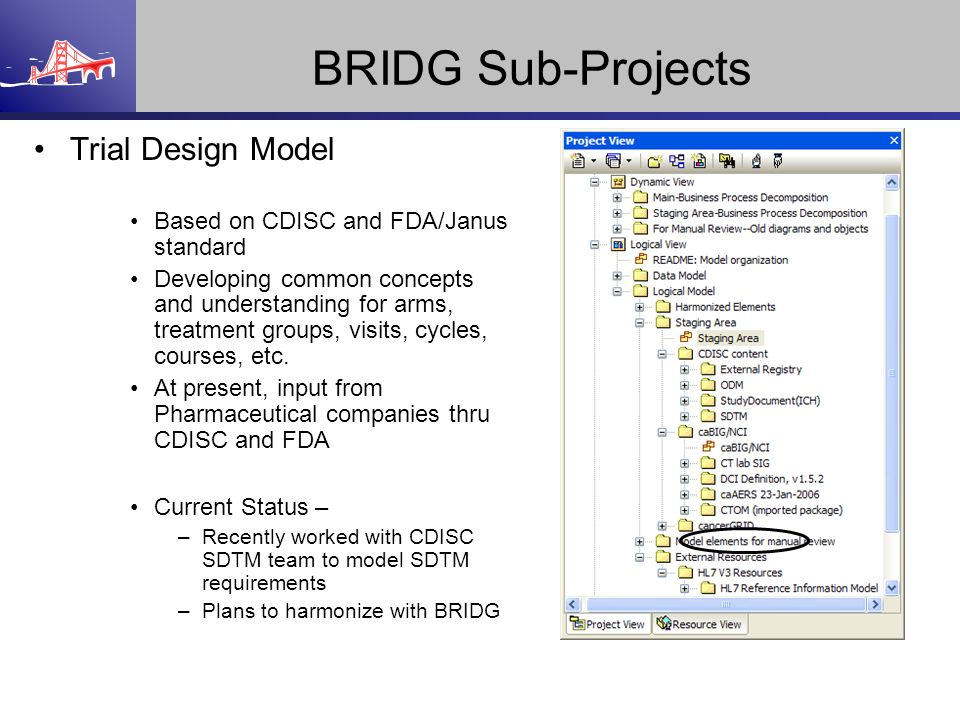 BRIDG Sub-Projects Trial Design Model