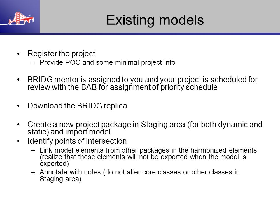 Existing models Register the project