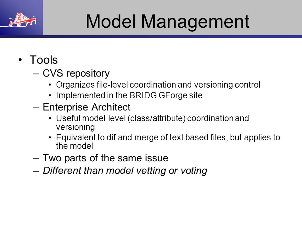 Model Management Tools CVS repository Enterprise Architect