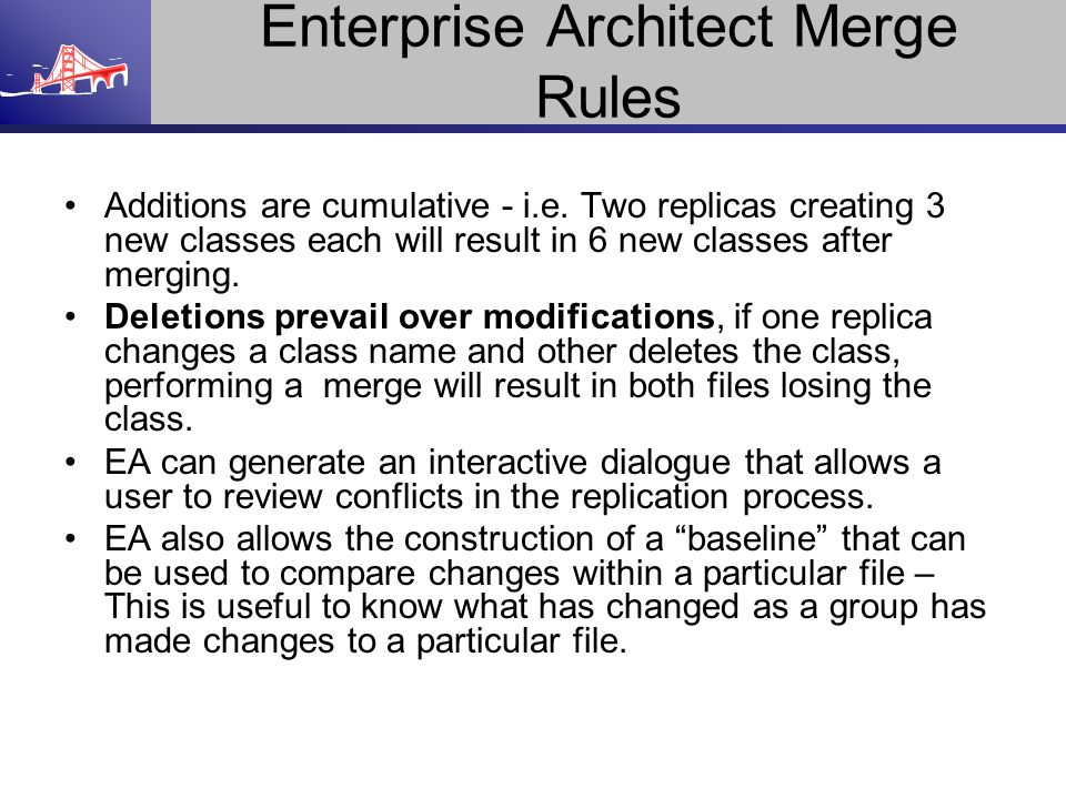 Enterprise Architect Merge Rules