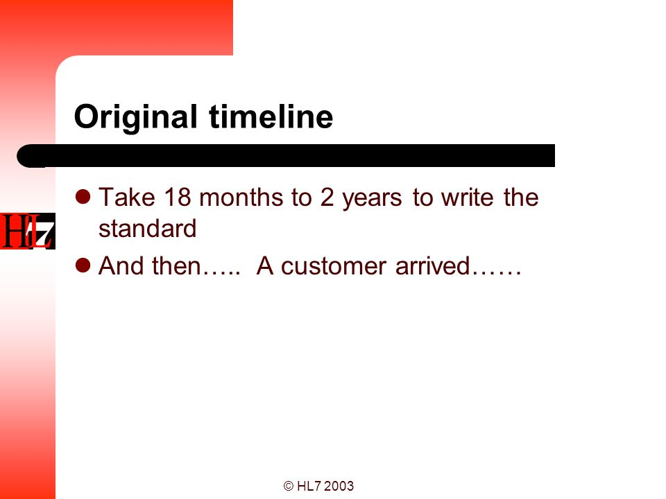 Original timeline Take 18 months to 2 years to write the standard