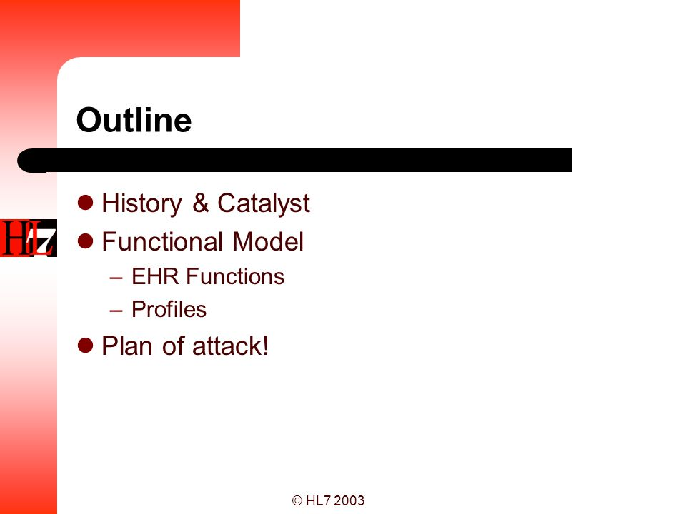 Outline History & Catalyst Functional Model Plan of attack!
