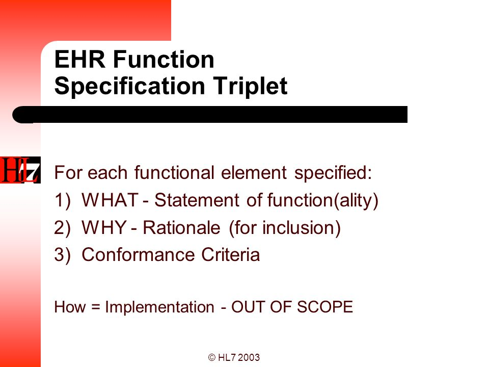 EHR Function Specification Triplet