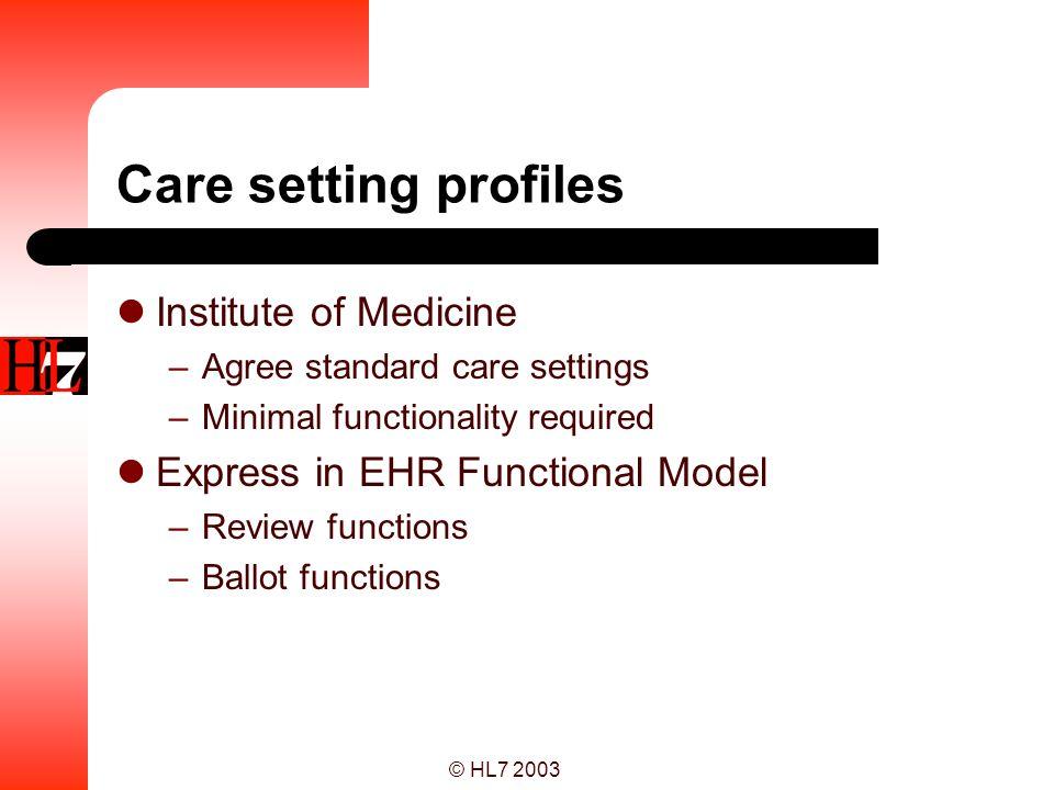 Care setting profiles Institute of Medicine