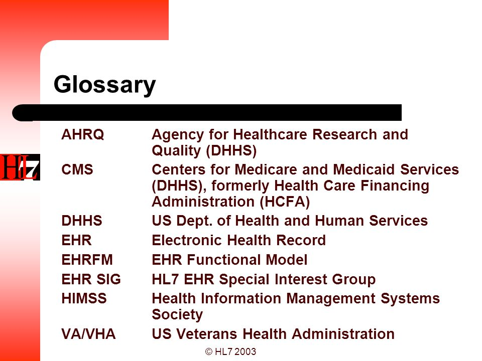 Glossary AHRQ Agency for Healthcare Research and Quality (DHHS)