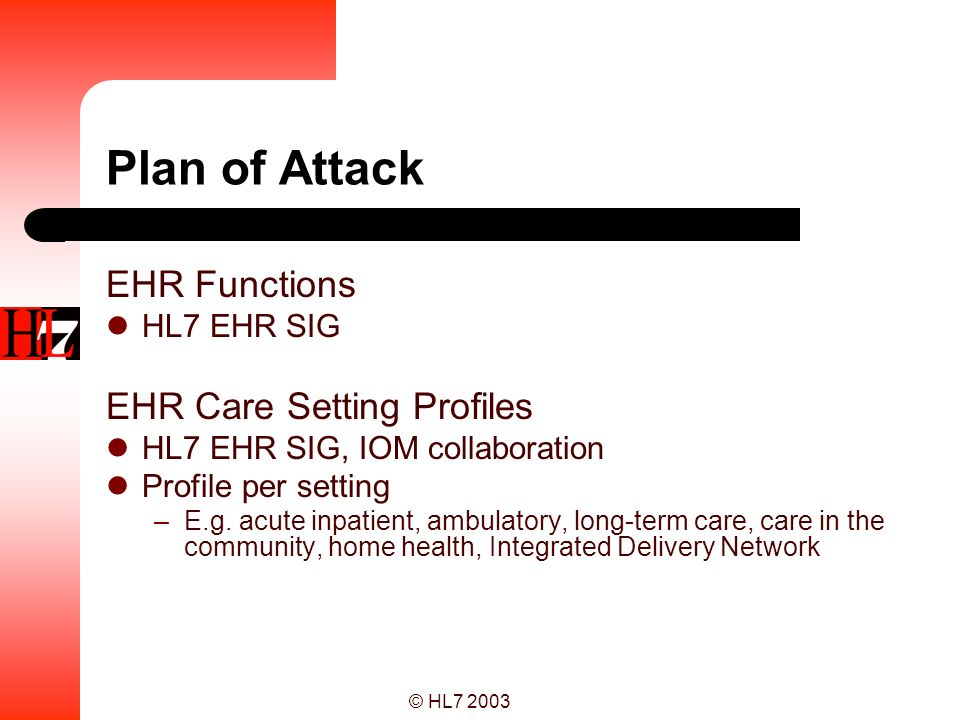 Plan of Attack EHR Functions EHR Care Setting Profiles HL7 EHR SIG