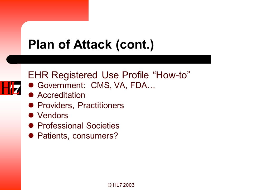 Plan of Attack (cont.) EHR Registered Use Profile How-to