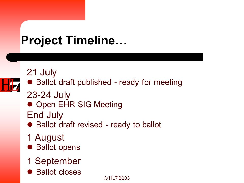 Project Timeline… 21 July July End July 1 August 1 September