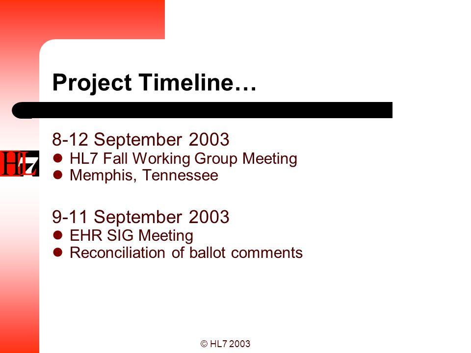 Project Timeline… 8-12 September 2003 9-11 September 2003