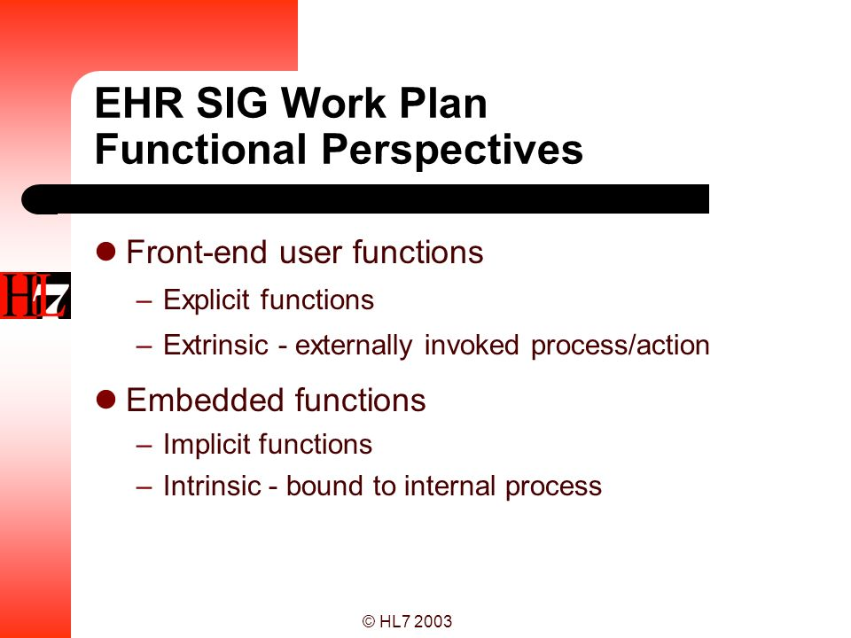 EHR SIG Work Plan Functional Perspectives