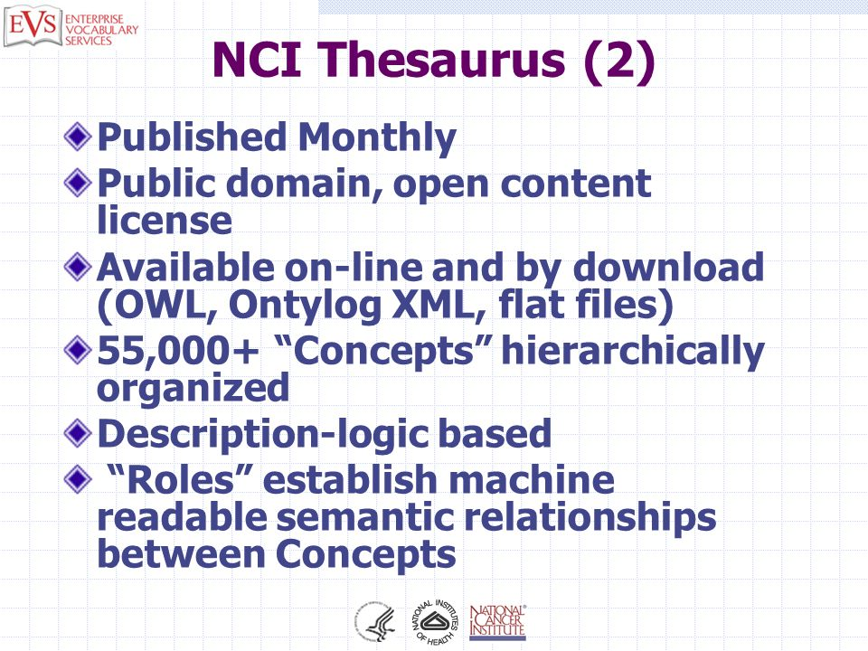 NCI Thesaurus (2) Published Monthly