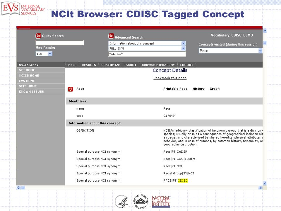 NCIt Browser: CDISC Tagged Concept