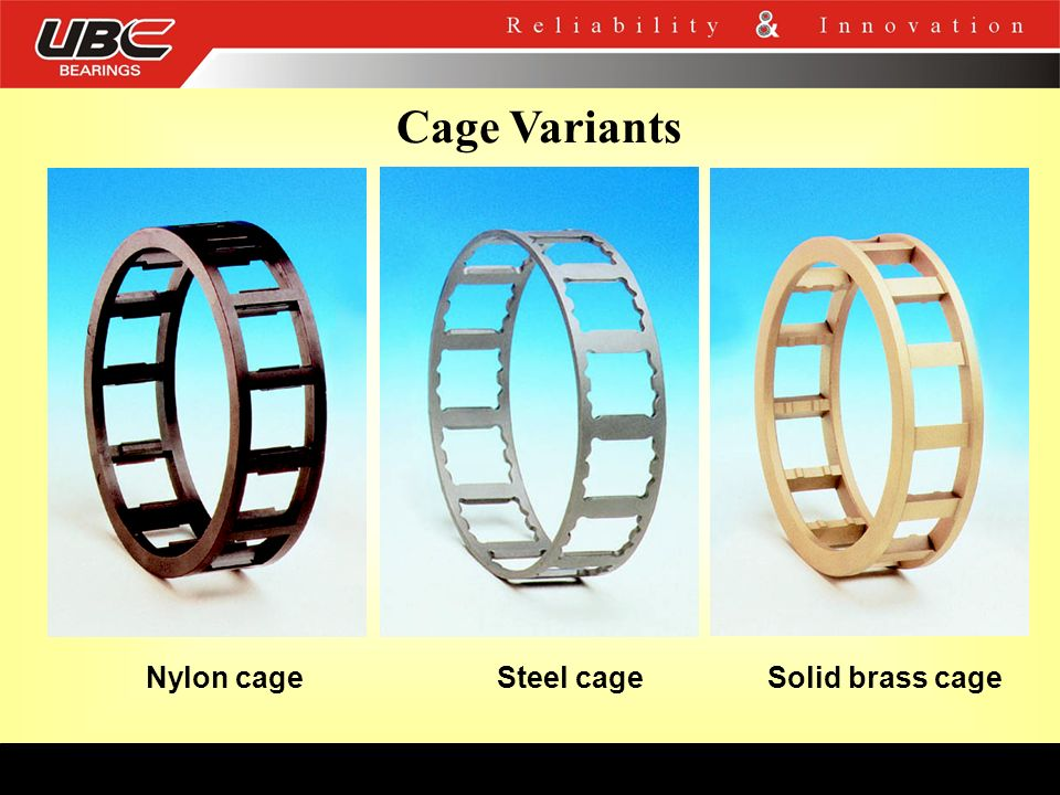 Cage Variants Nylon cage Steel cage Solid brass cage