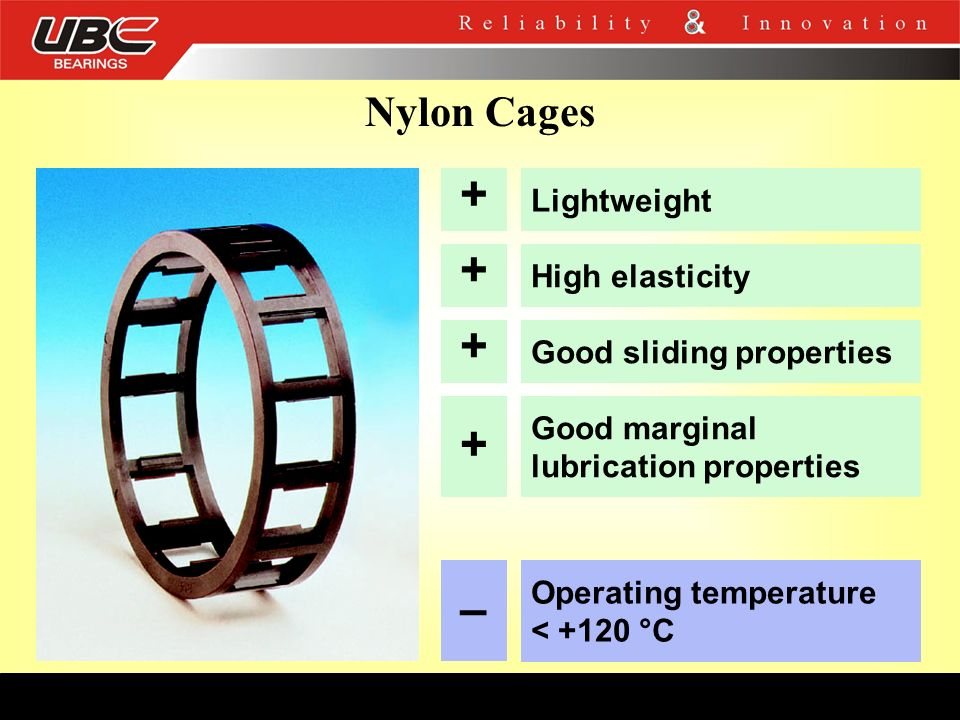 + + + + – Nylon Cages Lightweight High elasticity