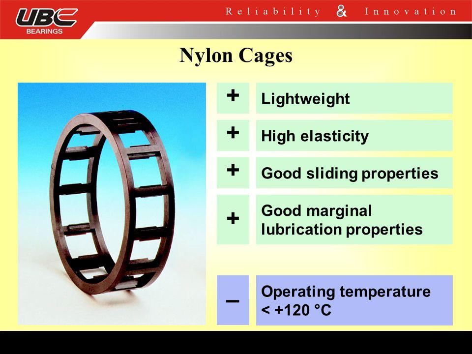 + + + + – Nylon Cages Lightweight High elasticity