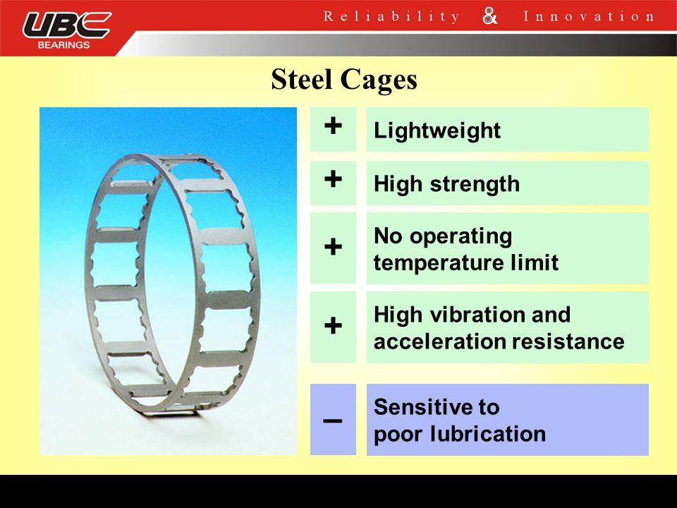 + + + + – Steel Cages Lightweight High strength