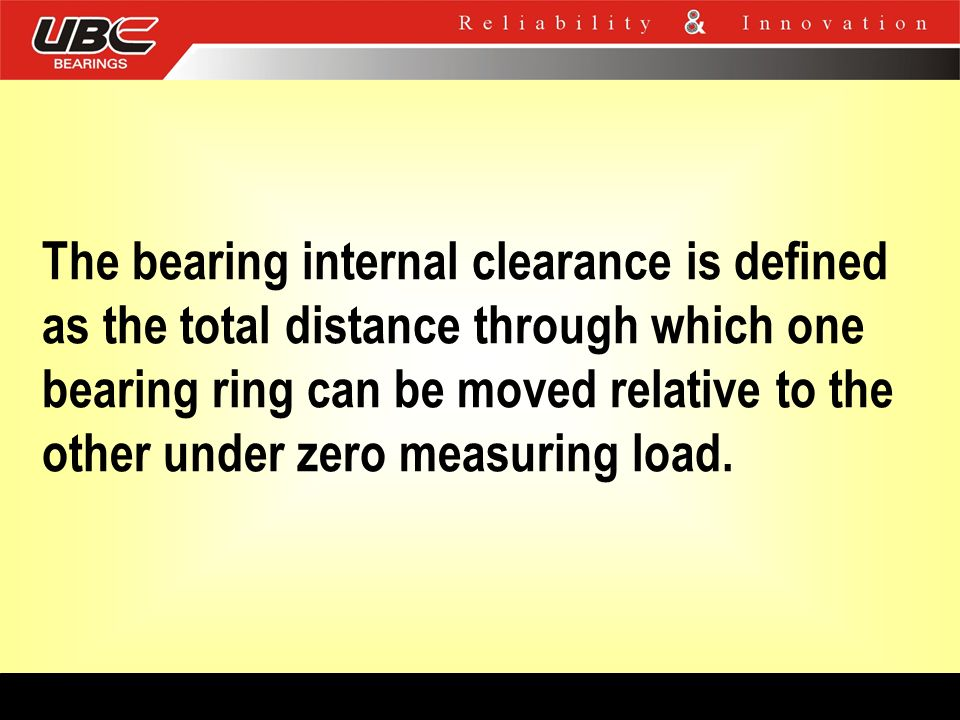 The bearing internal clearance is defined