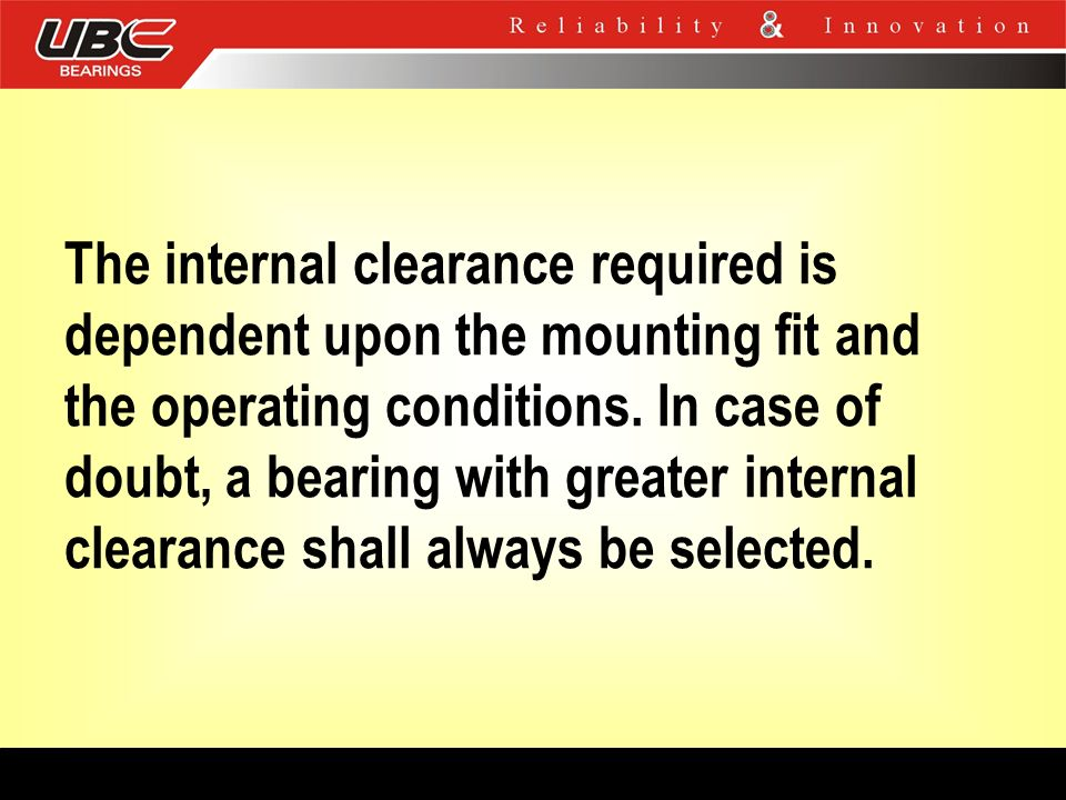 The internal clearance required is