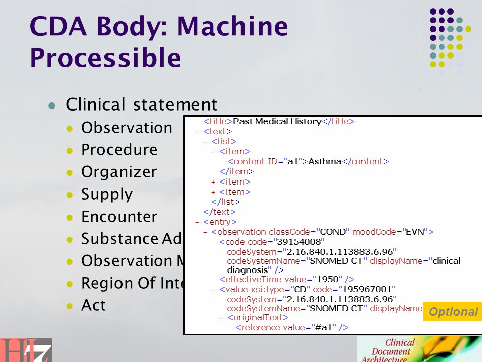 CDA Body: Machine Processible