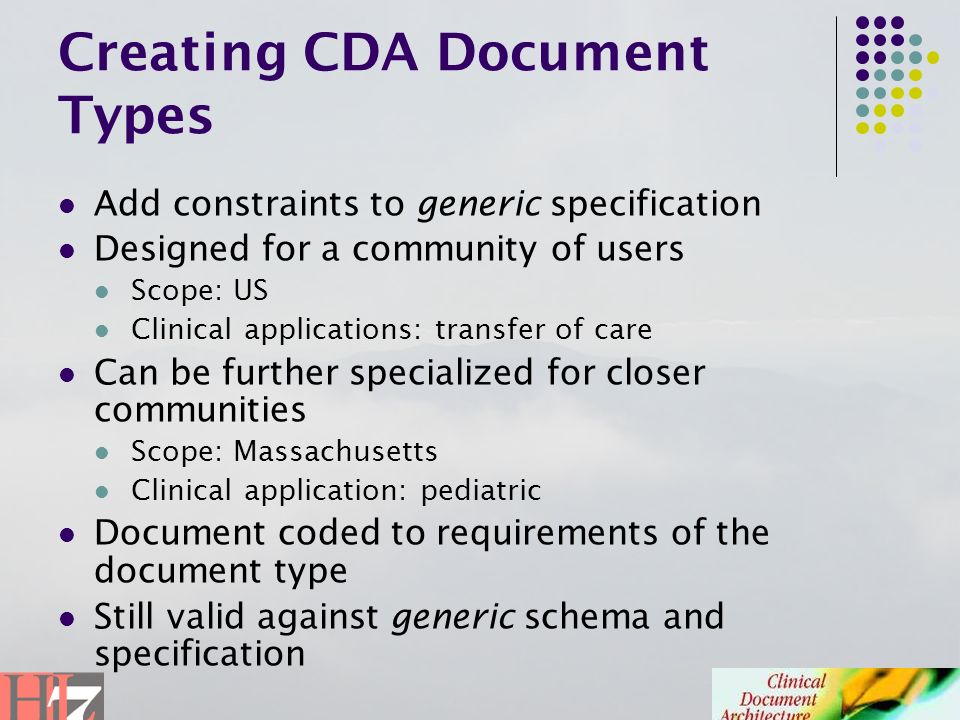 Creating CDA Document Types