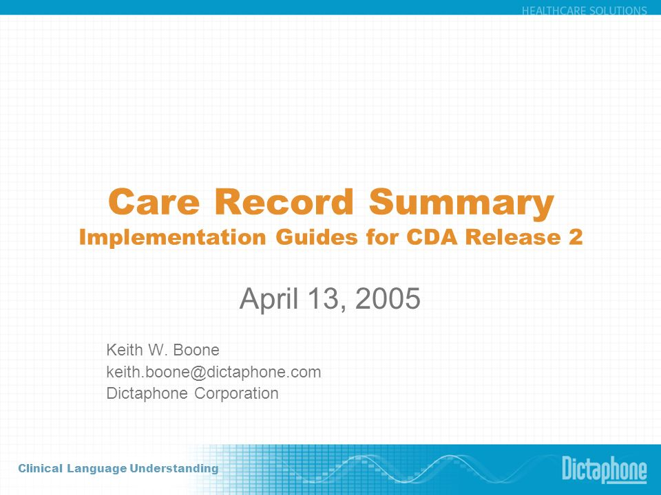 Care Record Summary Implementation Guides for CDA Release 2