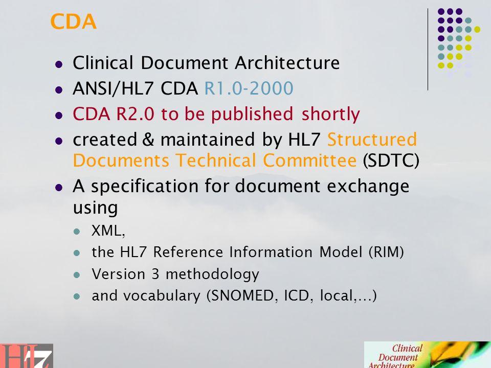 CDA Clinical Document Architecture ANSI/HL7 CDA R1.0-2000