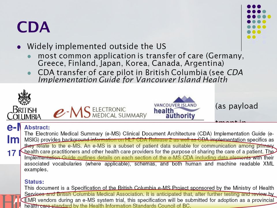 CDA Widely implemented outside the US In the US