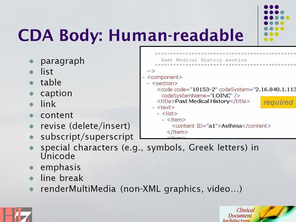 CDA Body: Human-readable