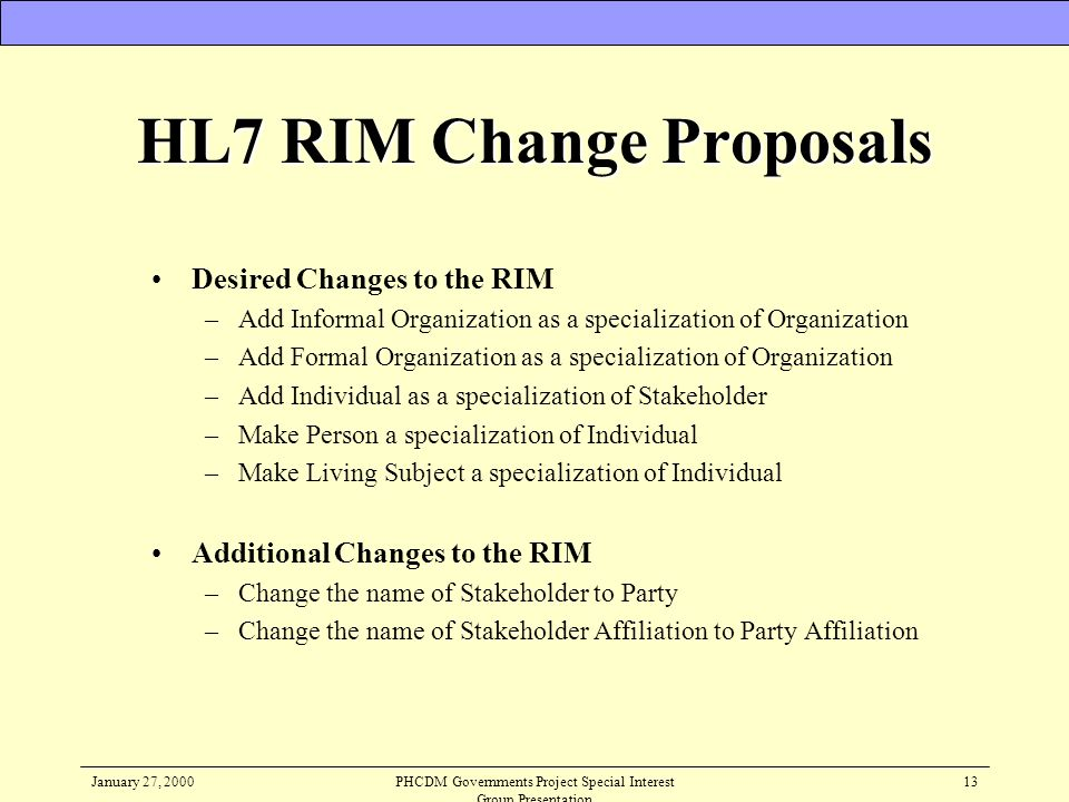 HL7 RIM Change Proposals
