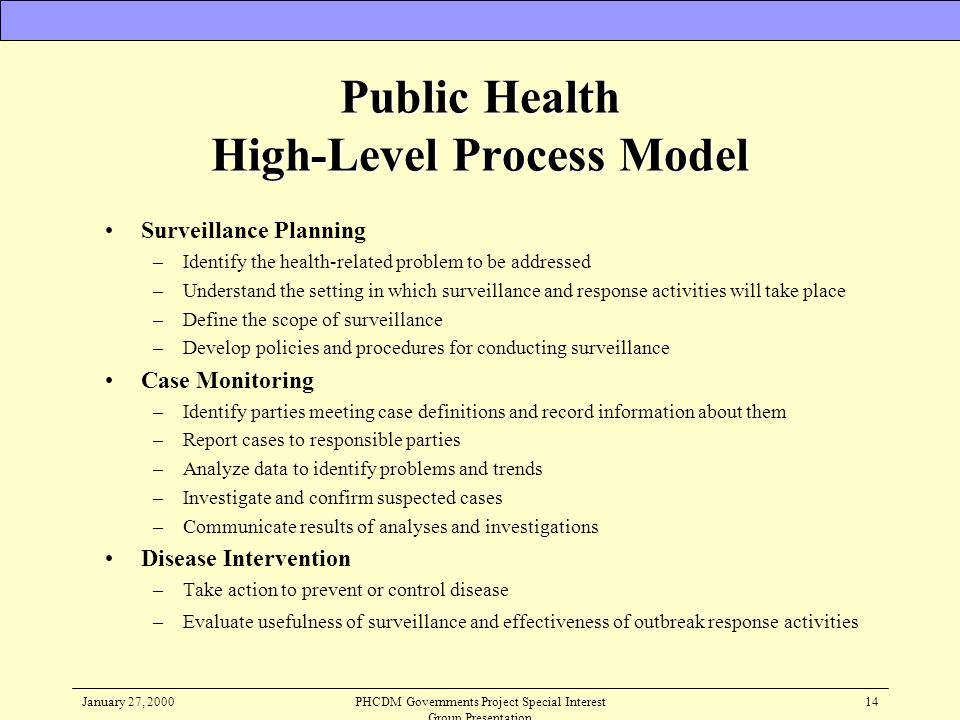 Public Health High-Level Process Model