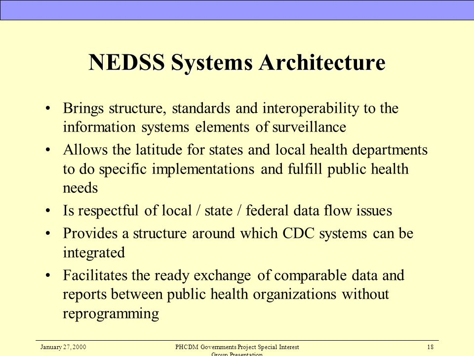 NEDSS Systems Architecture