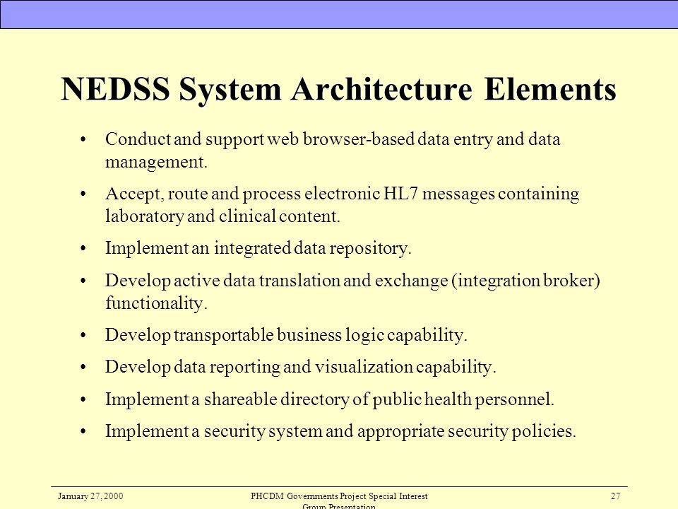 NEDSS System Architecture Elements