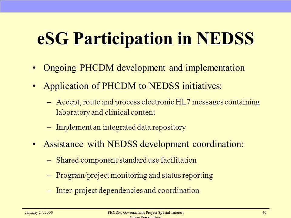 eSG Participation in NEDSS