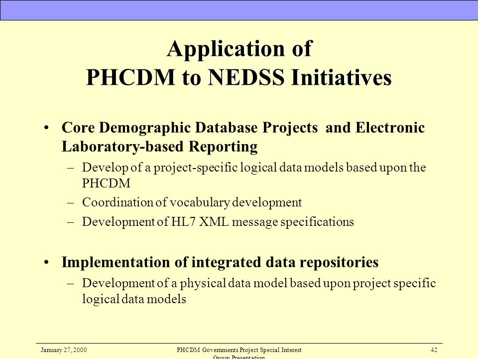 Application of PHCDM to NEDSS Initiatives