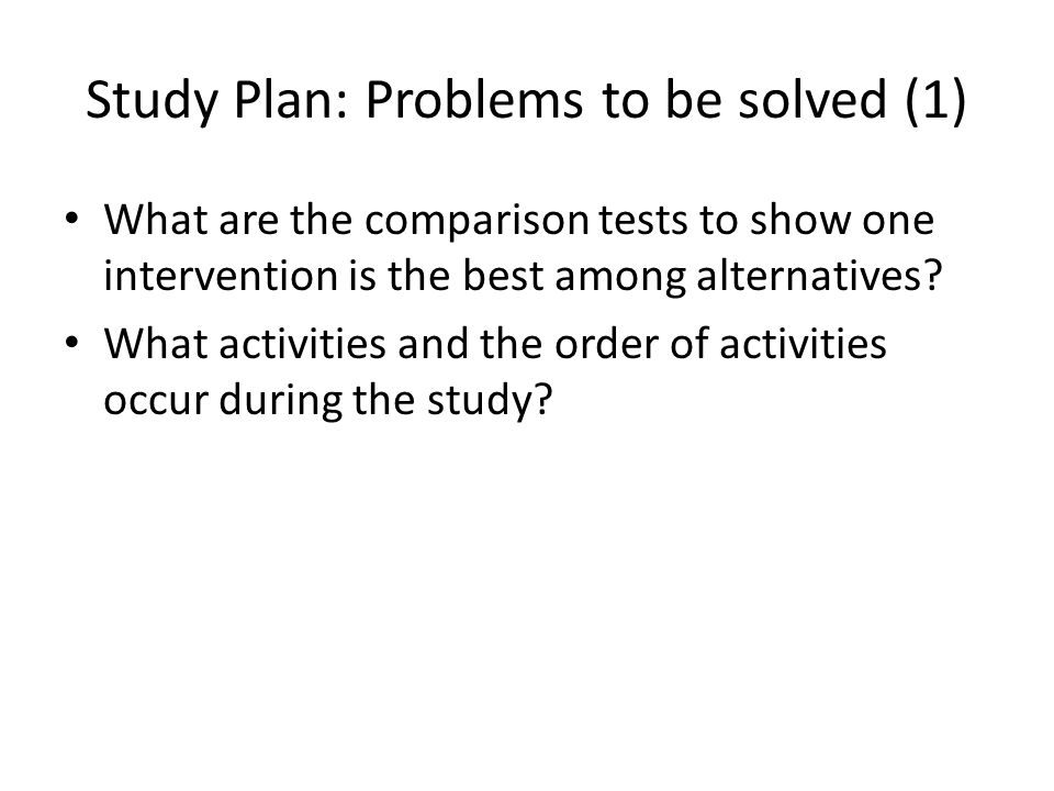 Study Plan: Problems to be solved (1)
