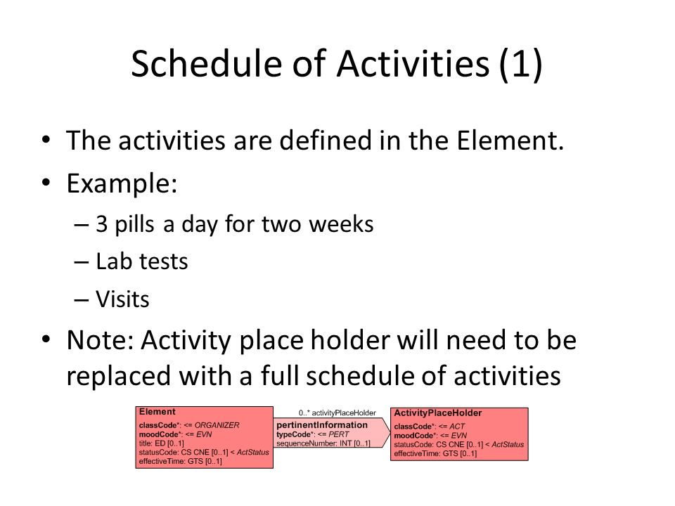 Schedule of Activities (1)