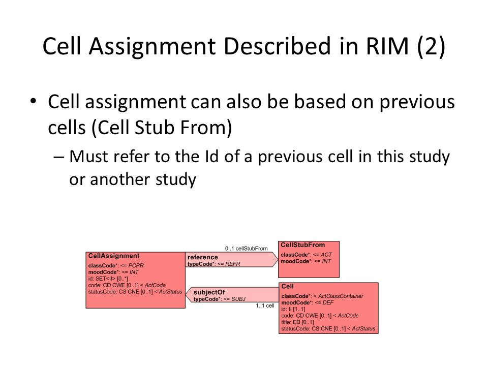Cell Assignment Described in RIM (2)