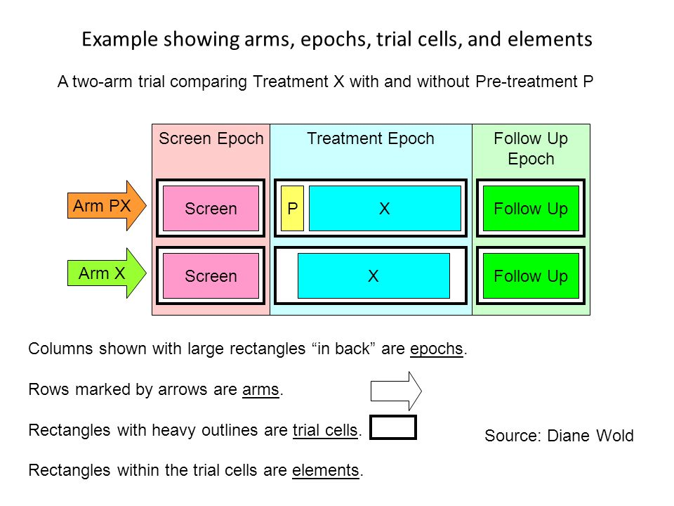 Example showing arms, epochs, trial cells, and elements