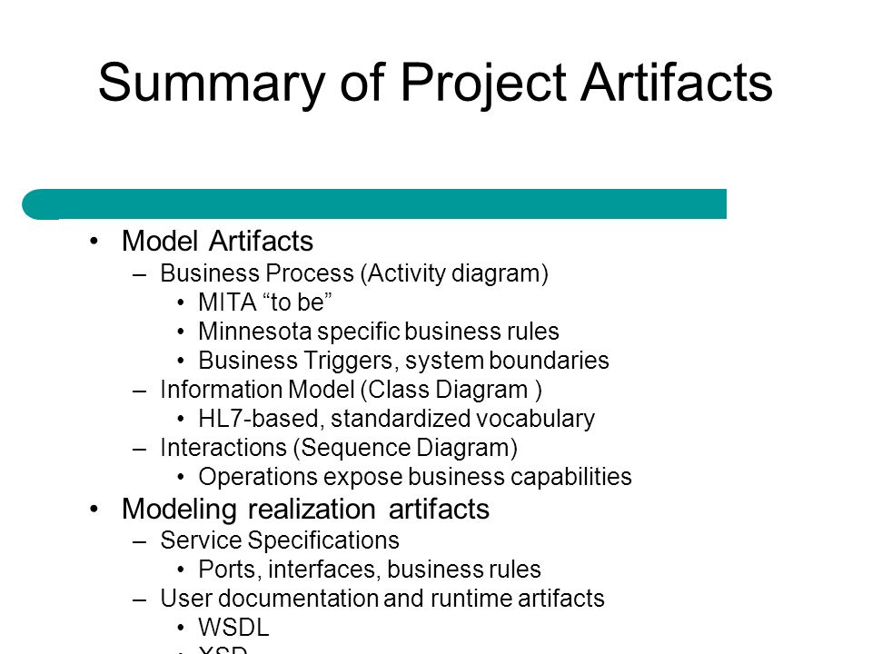 Summary of Project Artifacts