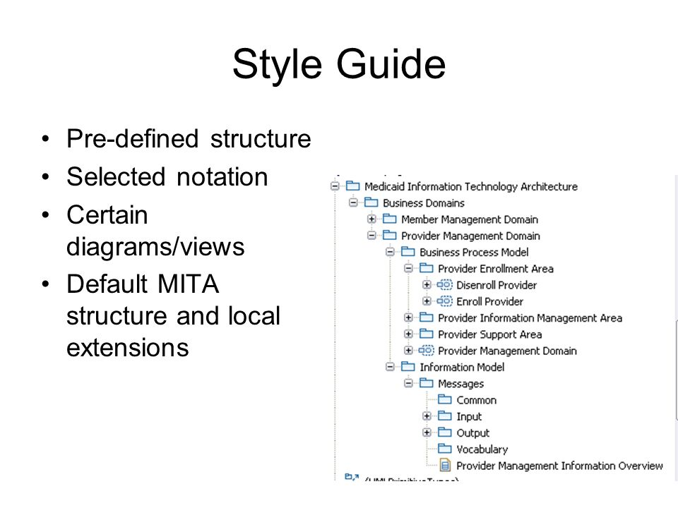 Style Guide Pre-defined structure Selected notation