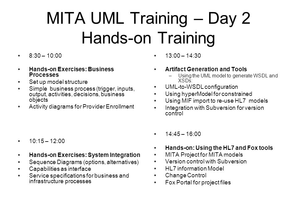 MITA UML Training – Day 2 Hands-on Training