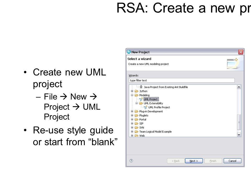 RSA: Create a new project