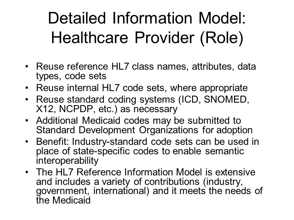 Detailed Information Model: Healthcare Provider (Role)