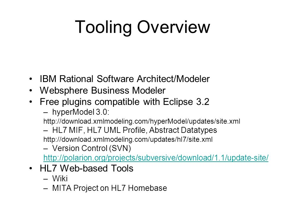 Tooling Overview IBM Rational Software Architect/Modeler